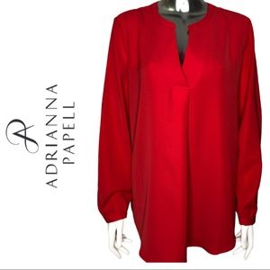 Adrianna Papell Red Long Sleeve V-Neck Blouse